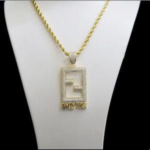 Other - Gold Finish Lab Diamond FF FAMILY FIRST Charm Set
